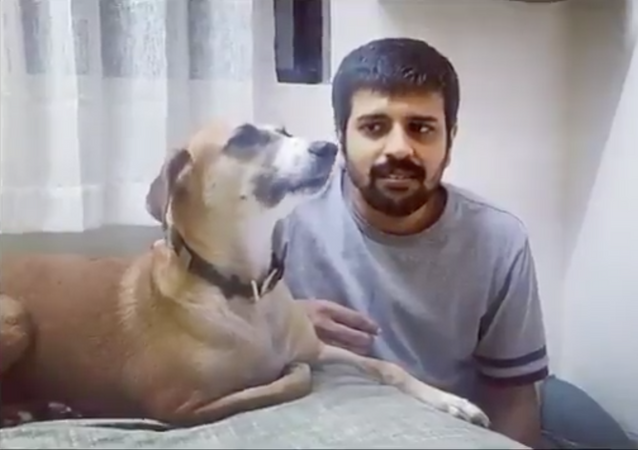 Dog and Master perform classic duet