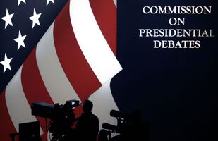 In this Oct. 19, 2016 file photo, the set is shown during the third presidential debate at UNLV in Las Vegas. The nonpartisan commission that sponsors presidential debates says a 2020 Presidential debate that had been scheduled to be held in Michigan will now take place in Florida.