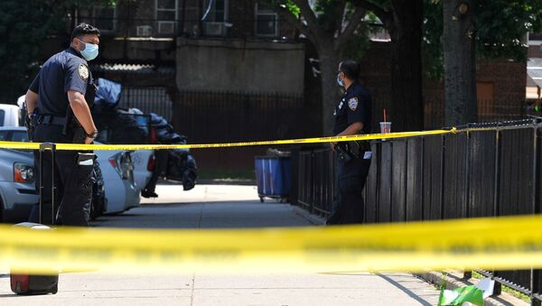 Police officers from the NYPD investigate at a crime scene in the Brooklyn borough of New York City, New York, U.S., July 5, 2020. Picture taken July 5, 2020.  - Sputnik International