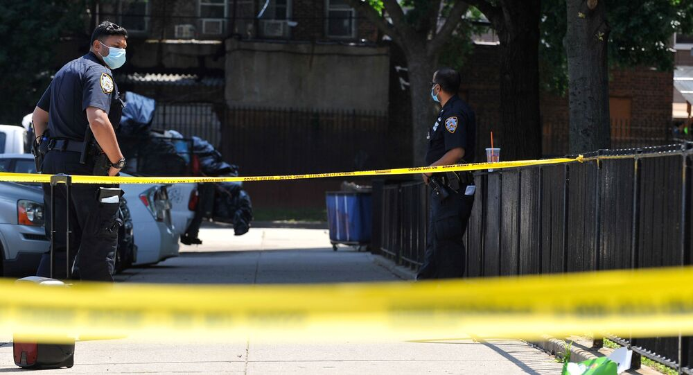 Police officers from the NYPD investigate at a crime scene in the Brooklyn borough of New York City, New York, U.S., July 5, 2020. Picture taken July 5, 2020.