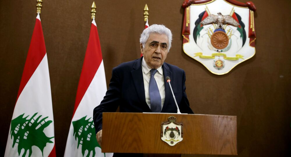Lebanese Foreign Minister Nassif Hitti speaks at a  news conference  in Amman, Jordan, July 2, 2020