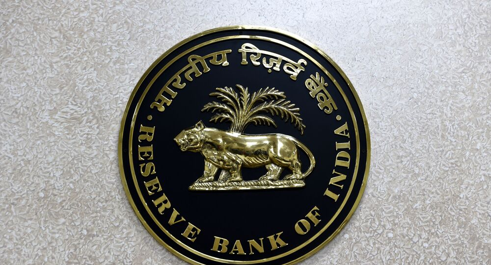 The Reserve Bank of India (RBI) logo is displayed on a wall inside the Reserve Bank of India in New Delhi on July 8, 2019.