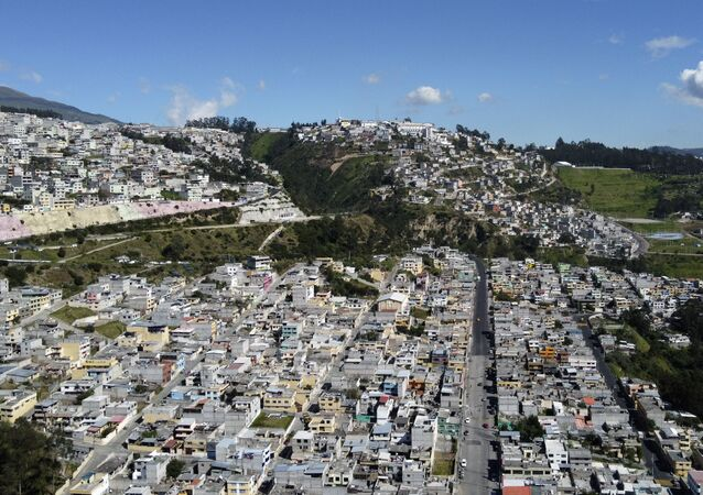 Aerial view of La Bota neighbourhood, one of northern Quito's poorest areas
