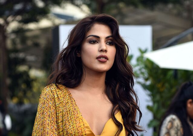 Indian Bollywood actress Rhea Chakraborty poses for photographs at the Lakme Fashion Week (LFW) Summer Resort 2019, in Mumbai on 1 February 2019