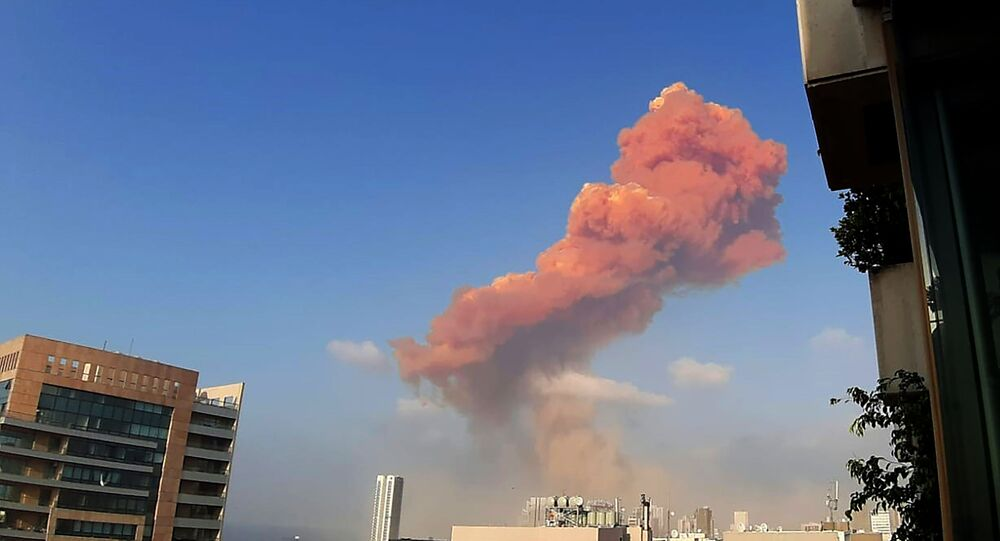 A picture shows the scene of a huge explosion that rocked the Lebanese capital Beirut on August 4, 2020.