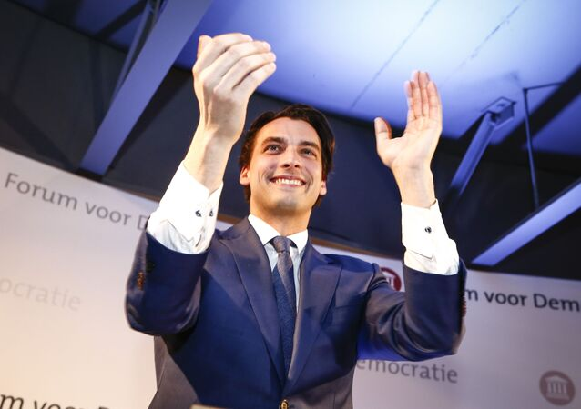 Thierry Baudet leader of Forum voor Democratie (FvD) reacts during an election night in Amsterdam, on March 15, 2017.