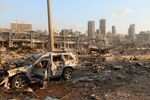 A damaged vehicle is seen at the site of an explosion in Beirut, Lebanon August 4, 2020