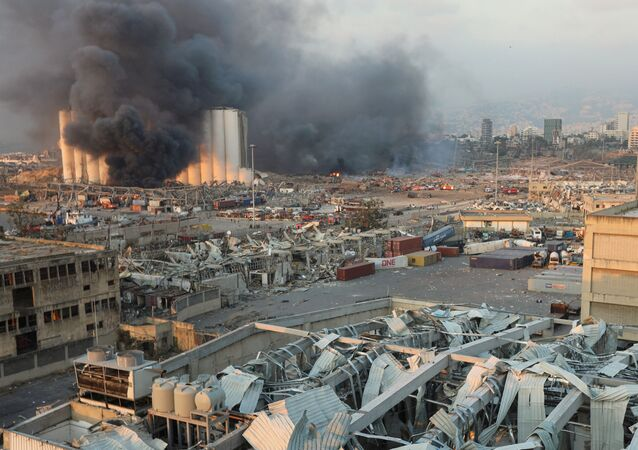 Smoke rises from the site of an explosion in Beirut, Lebanon August 4, 2020