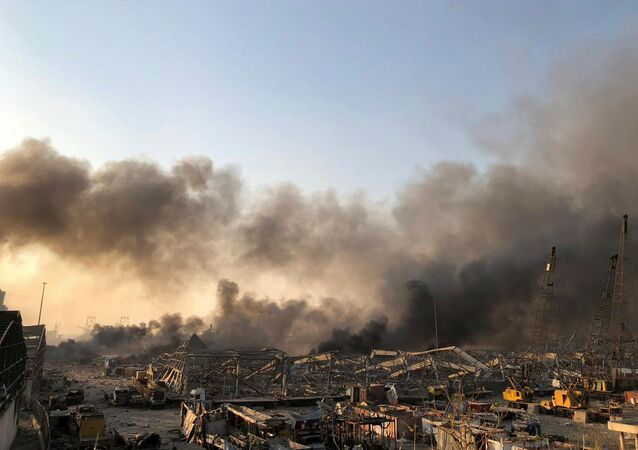 Smoke rises after an explosion was heard in Beirut, Lebanon August 4, 2020