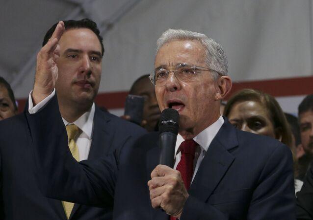 Former Colombian President Alvaro Uribe in Bogota