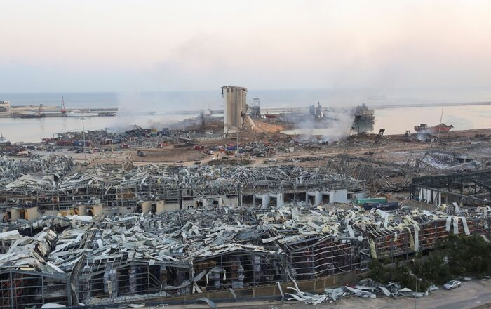A general view shows the aftermath at the site of Tuesday's blast in Beirut's port area, Lebanon August 5, 2020