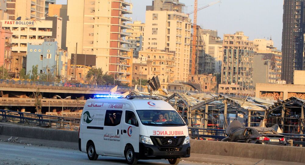 An ambulance drives near the site of Tuesday's blast in Beirut's port area, Lebanon August 5, 2020. REUTERS/Aziz Taher
