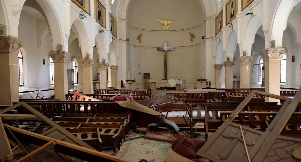 The interior of a church is pictured in the aftermath of yesterday's blast that tore through Lebanon's capital and resulted from the ignition of a huge depot of ammonium nitrate at Beirut's port, on August 5, 2020
