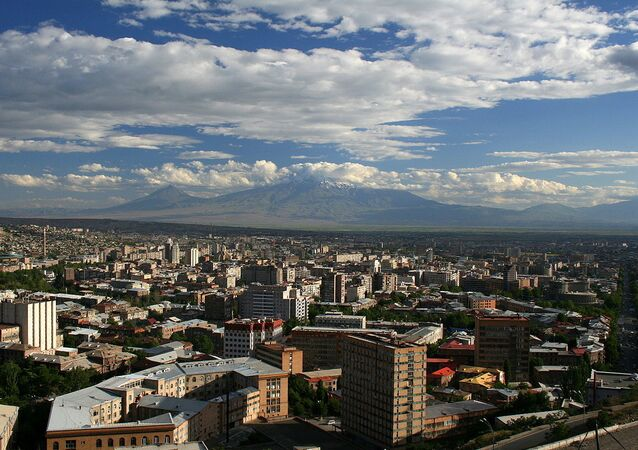 A view of Yerevan from the Mother Armenia monument