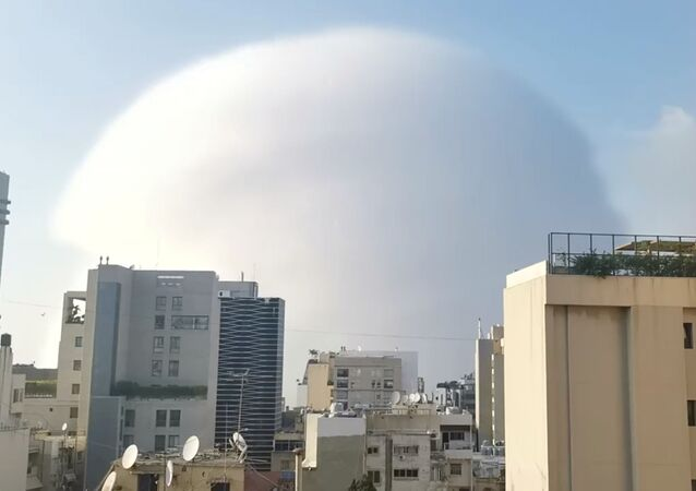 A shockwave is seen during an explosion in Beirut, Lebanon August 4, 2020, in this picture obtained from a social media video
