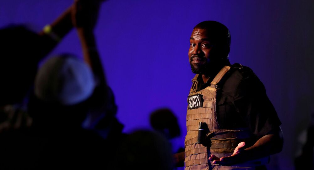 Rapper Kanye West holds his first rally in support of his presidential bid in North Charleston, South Carolina, U.S. July 19, 2020