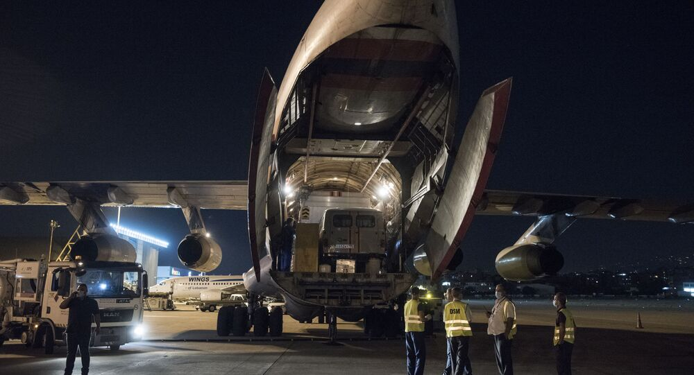 Russian aircraft with an airmobile hospital, doctors, rescuers of the airmobile unit Tsentrospas and a laboratory of Rospotrebnadzor to detect COVID-19 arrive in Beirut after the devastating blast