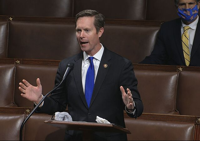 In this image from video, Rep. Rodney Davis, R-Ill., speaks on the floor of the House of Representatives at the U.S. Capitol in Washington, Thursday, April 23, 2020