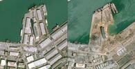 This combo of handout satellite images courtesy of Cnes 2020 released on 5 August 2020 by Airbus DS shows a view of the port of Beirut on 25 January 2020 (L) and on 5 August 2020, a day after a blast in a warehouse in the port of the Lebanese capital.