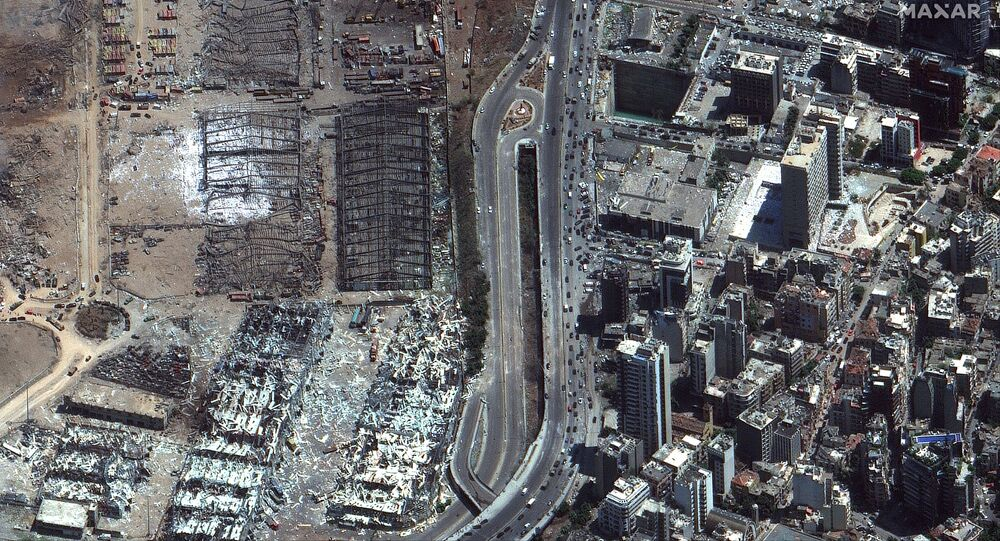 The 5 August satellite image of Beirut port after the blast
