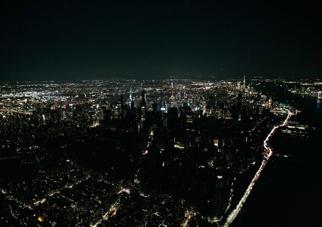 A large section of Manhattan's Upper West Side and Midtown neighborhoods are seen in darkness from above during a major power outage on July 13, 2019 in New York City.