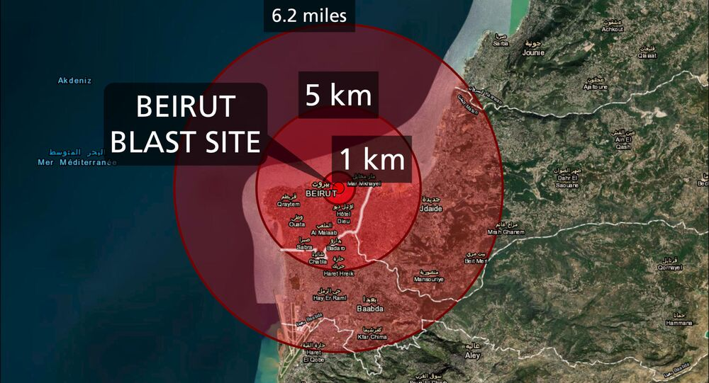Map by professional cartographer Joanna Merson showing the blast radius from Tuesday's explosions in Beirut.