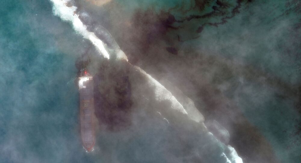 A satellite image shows the bulk carrier ship MV Wakashio and its oil spill after it ran aground off the southeast coast of Mauritius, August 7, 2020.