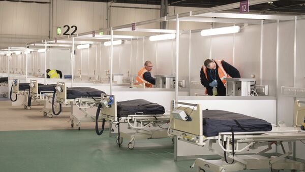 Private contractors help to prepare the ExCel centre which has temporarily been transformed into the NHS Nightingale hospital, in London, Monday, March 30, 2020. The makeshift hospital comprises of two wards with the capacity to hold up to 2,000 people in each - Sputnik International