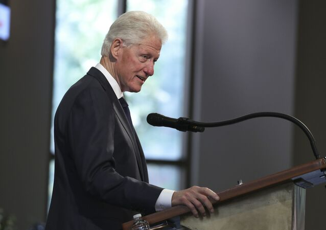Former President Bill Clinton speaks during the funeral service for the late Rep. John Lewis, D-Ga., at Ebenezer Baptist Church in Atlanta, 30 July 2020.