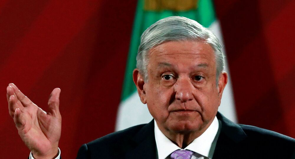 Mexico's President Andres Manuel Lopez Obrador attends a news conference at the National Palace in Mexico City, Mexico February 18, 2020.