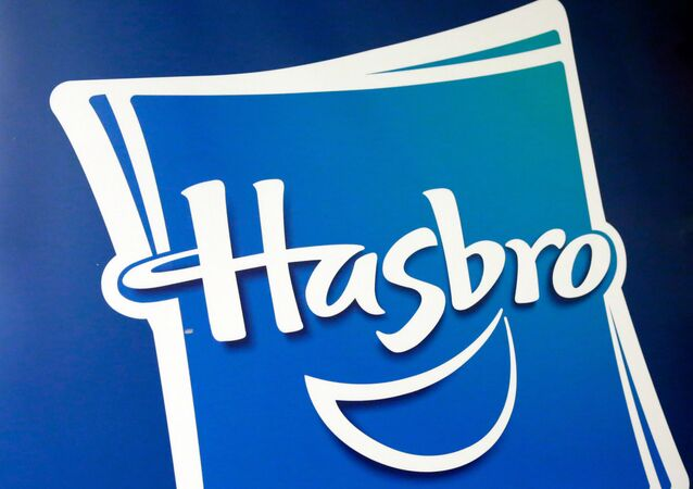 This 26 April 2018 file photo shows the Hasbro logo at the TTPM 2018 Spring Showcase, in New York.