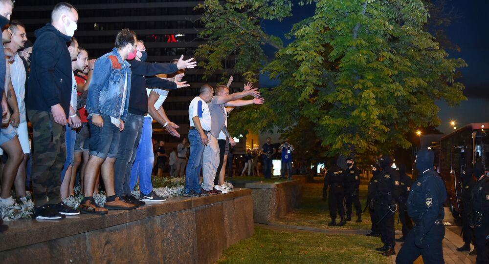 Demonstrators in Minsk