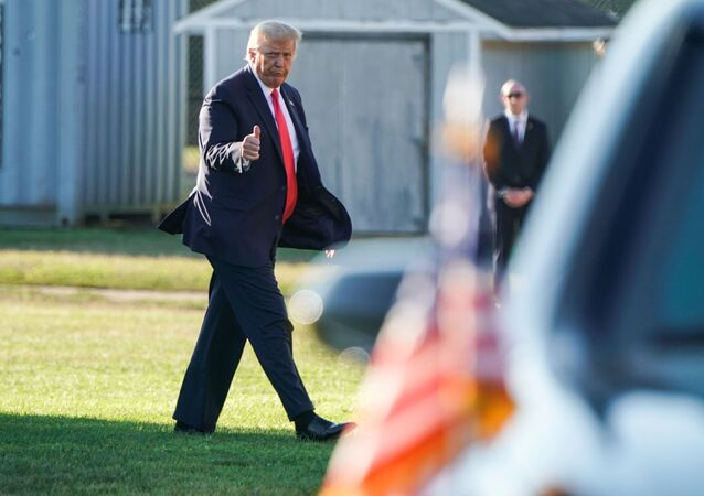 U.S. President Donald Trump walks from Marine One as he arrives in Southampton, New York, U.S., August 8, 2020.