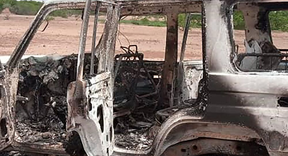 The car where six French tourists, their local guide and the driver were killed in an area of southwestern Niger