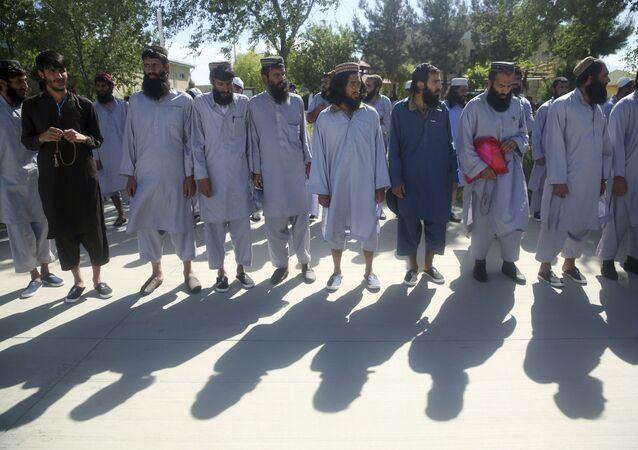 Afghan Taliban prisoners in Parwan province, Afghanistan