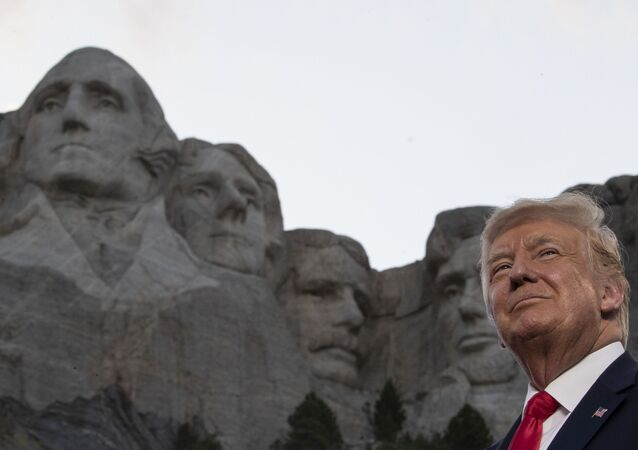 President Donald Trump stands at Mount Rushmore National Memorial, Friday, July 3, 2020, near Keystone, S.D.