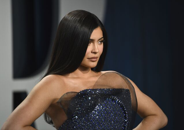 Kylie Jenner arrives at the Vanity Fair Oscar Party on Sunday, 9 February 2020, in Beverly Hills, California