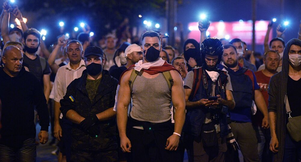 Protesters took to the streets of Minsk on Sunday night after official exit polls projected a landslide victory for the incumbent President Lukashenko