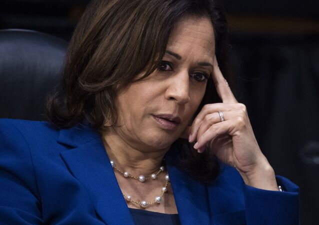Sen. Kamala Harris, D-Calif., asks a question during a Senate Judiciary Committee hearing on police use of force and community relations on on Capitol Hill, Tuesday, June 16, 2020 in Washington