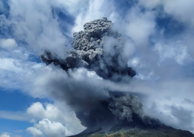 Mount Sinabung spews volcanic ash in Karo, North Sumatra province, Indonesia, August 10, 2020 in this photo taken by Antara Foto.
