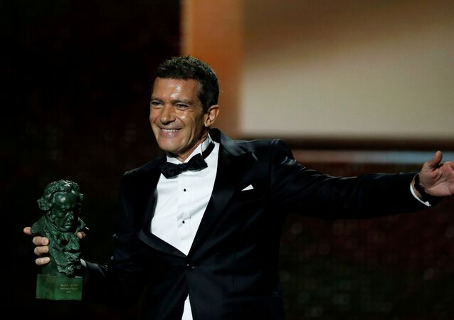 Actor Antonio Banderas reacts upon receiving the award for Best Actor for the film Dolor y gloria (Pain and Glory) during the Spanish Film Academy's Goya Awards ceremony in Malaga, Spain, January 25, 2020
