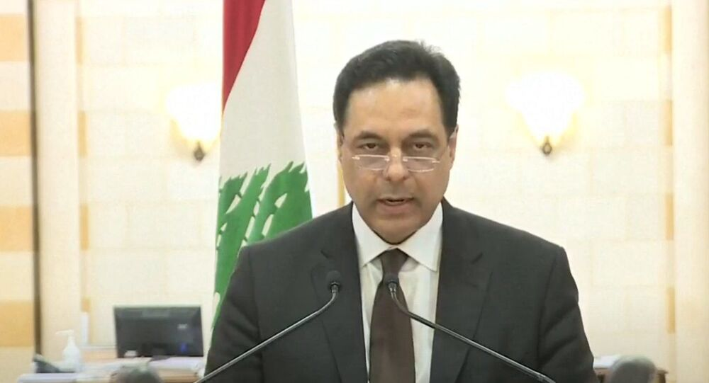 Outgoing Lebanese Prime Minister Hassan Diab. Screenshot from Lebanese television.