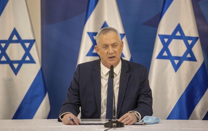 Israeli Defense Minister Benny Gantz issues a statement at the Israeli Defense Ministry in Tel Aviv, Israel, Monday, July 27, 2020.