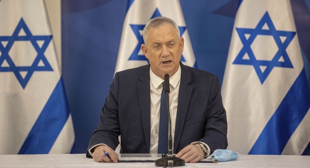 Israeli Defense Minister Benny Gantz issues a statement at the Israeli Defense Ministry in Tel Aviv, Israel, Monday, July 27, 2020.