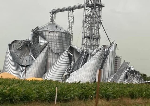Grain elevator smashed in Luther, Iowa.
