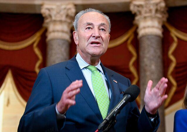 U.S. Senate Minority Leader Chuck Schumer, joined by Speaker of the House Nancy Pelosi, speaks to reporters in the U.S. Capitol in Washington, U.S. July 29, 2020.