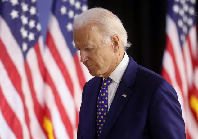 Democratic presidential candidate and former Vice President Joe Biden departs after speaking about his plans to combat racial inequality at a campaign event in Wilmington, Delaware, U.S., July 28, 2020.