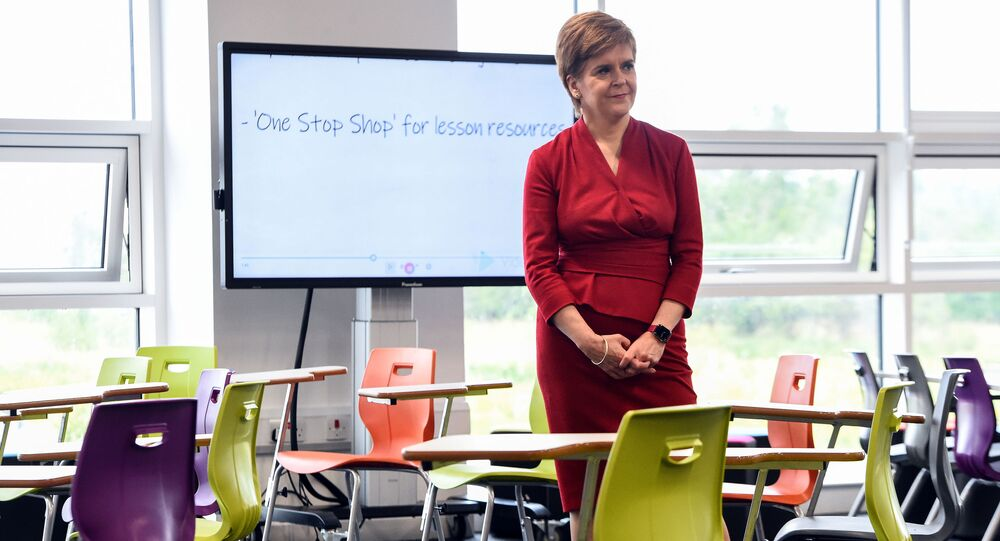 First Minister of Scotland Nicola Sturgeon visits West Calder High School in West Calder