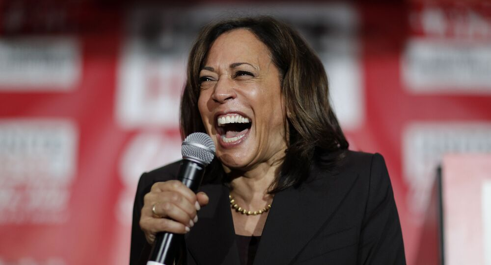 In this Nov. 8, 2019, file photo, then-Democratic presidential candidate Sen. Kamala Harris, D-Calif., reacts as she speaks at a town hall event at the Culinary Workers Union in Las Vegas. Democratic presidential candidate former Vice President Joe Biden has chosen  Harris as his running mate.