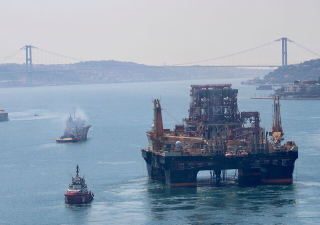 Drilling vessel Scarabeo 9, owned by Italian oil service group Saipem, sails in the Bosphorus on its way to the Mediterranean Sea, in Istanbul, Turkey, April 13, 2020